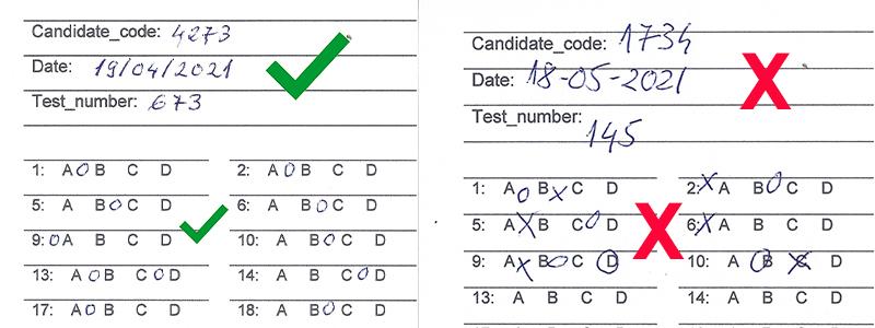 correct and wrong samples